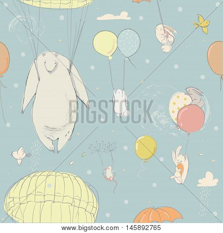 seamless pattern with balloons, cute little hares and polar bear