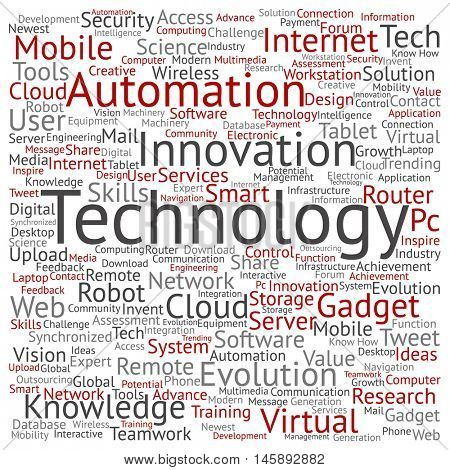 Concept or conceptual digital smart technology square word cloud isolated on background metaphor to information, innovation, internet, future, development, research, evolution or intelligence