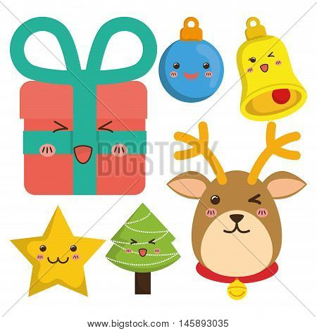 reindeer gifts star pinetree sphere bell cartoon icon. Merry Christmas decoration and season theme. Colorful design. Vector illustration