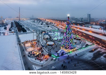 top view victory Park on Poklonnaya Hill in winter, Moscow.