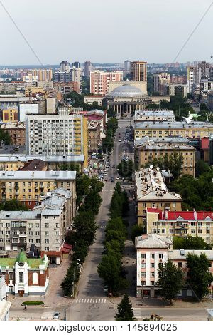 top view of The main street of the city of Novosibirsk, Russia.