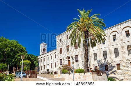Terra Sancta School and Joseph Church in Nazareth - Israel poster