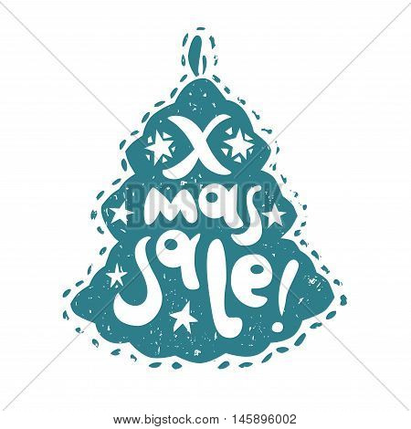 Vector X-mas Tree silhouette with X-Mas Sale hand lettering. Design for your Christmas sales labels or stickers