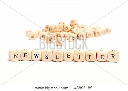 word with dice on white background - newsletter poster