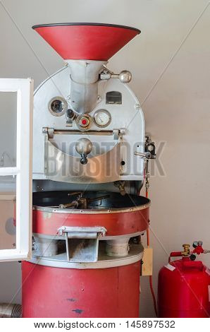 Nice Old red coffee roaster gas operations.