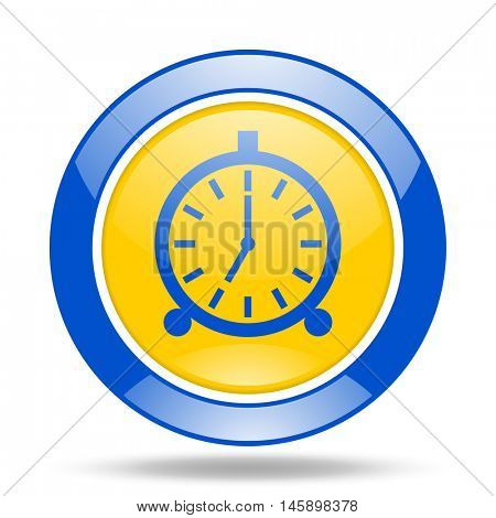 alarm round glossy blue and yellow web icon