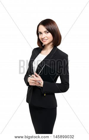 Business people - smiling woman loock at camera isolated on white background with clipping path.