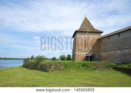 Sovereign tower of the fortress Oreshek, sunny day in august. Shlisselburg, Russia