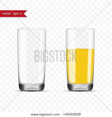 Empty and full glasses of juice with shadow, vector illustration