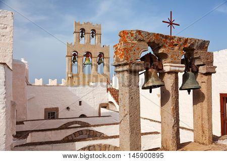 Church and bells on Patmos island Greece. Horizontal shot