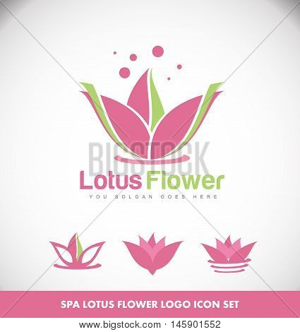 Lotus flower spa meditation yoga logo icon vector template
