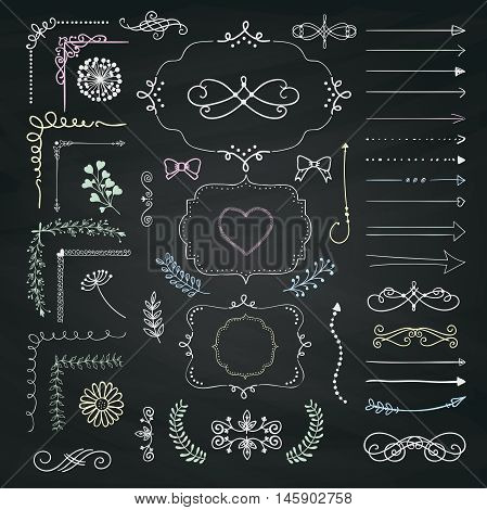 Set of Hand Drawn Doodle Design Elements. Rustic Decorative Line Borders, Dividers, Arrows, Swirls, Scrolls, Ribbons, Banners, Frames Corners Objects on Chalkboard Taxture. Vector Illustration