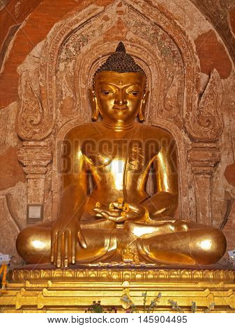 Full length statue of Bhudda. Photo taken in Ananda Temple Bagan Myanmar. (All temples in Myanmar are public space and free to visit.)