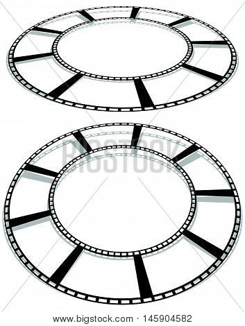 Circle Filmstrip Isolated With Shadow For Photography, Multimedia Concepts