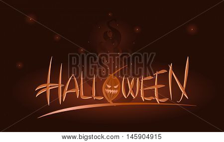 Vector Halloween illustration of scary pumpkin in flames