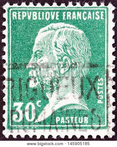 FRANCE - CIRCA 1923: A stamp printed in France shows chemist Louis Pasteur, circa 1923.