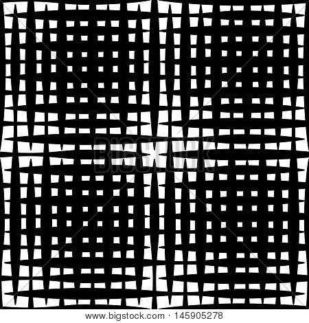 Monochrome Grid / Mesh With Irregular Lines. Repeatable Geometric Pattern. (seamless)