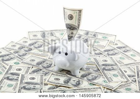 Piggy Bank on the background of a stack of dollar bills.