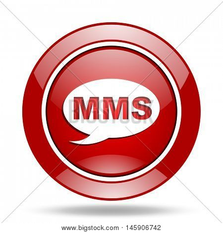 mms round glossy red web icon