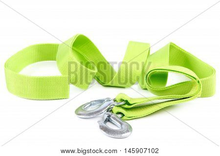 Tow rope with metal hooks isolated on a white background.