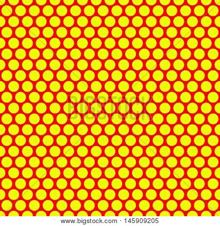 Dotted Repeatable Popart Like Duotone Pattern. Speckled Red Yellow Pointillist Background. Seamlessl
