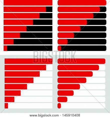 Progress, Load Bar Templates Set At 8 Stages, Steps. Completion, Progression Indicators