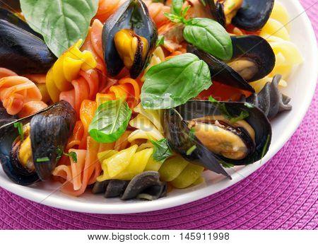 Colorful fusilli pasta with clams and basil. Horizontal shot.