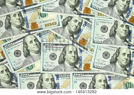 Finance concept of money background with hundred dollars banknotes