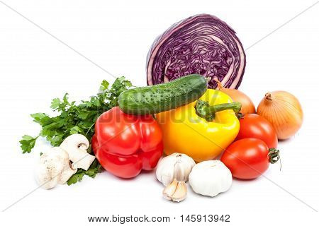 Fresh vegetables isolated on the white background.