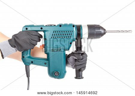 Modern rock-drill in the hands isolated on white background.