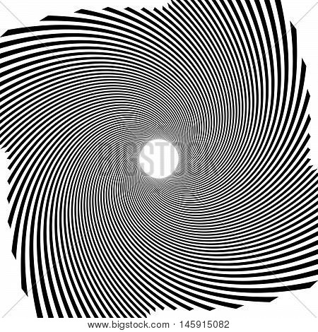 Circular Radial Linese Geometric Pattern. Converging - Radiating Lines With Spiral, Swirl Distortion