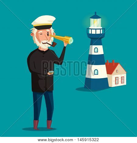 Sailor man character. Vector cartoon illustration. Old captain. Happy seaman. Vintage style