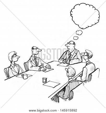 INSERT YOUR OWN TEXT.  Business illustration showing five people in a meeting and a boss thinking.