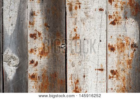 Grey Wood  Old Gringe Planks Background With Rusty Nail