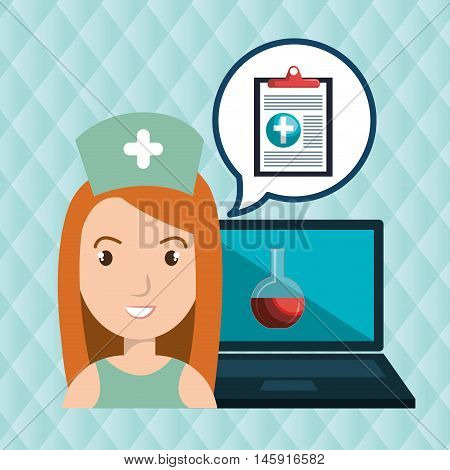 woman nurse laptop health vector illustration graphic