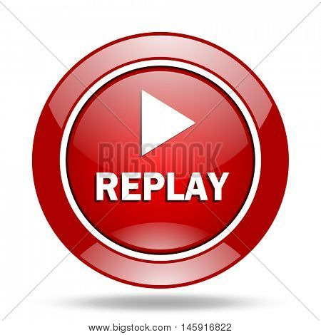 replay round glossy red web icon