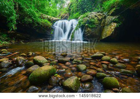 Waterfall with many rocks at Phu Soi Dao in Uttaradit, Thailand.
