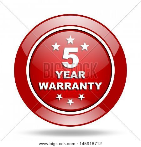 warranty guarantee 5 year round glossy red web icon