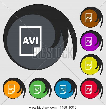 Avi Icon Sign. Symbols On Eight Colored Buttons. Vector