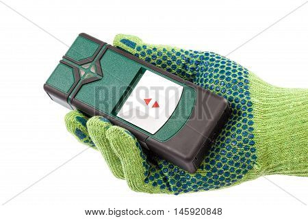 Modern laser measuring level in hand with glove isolated on white background.