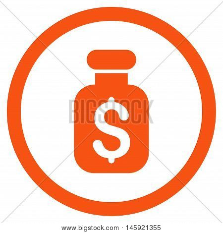 Business Remedy rounded icon. Vector illustration style is flat iconic symbol, orange color, white background.