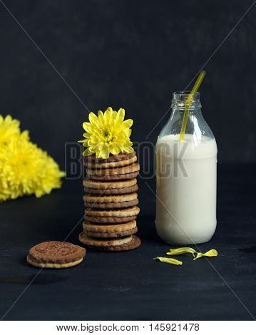 Sweet Cookies, Bottle Of Milk And Yellow Flowers For Breakfast
