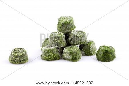 Frozen chopped spinach isolated on white background.