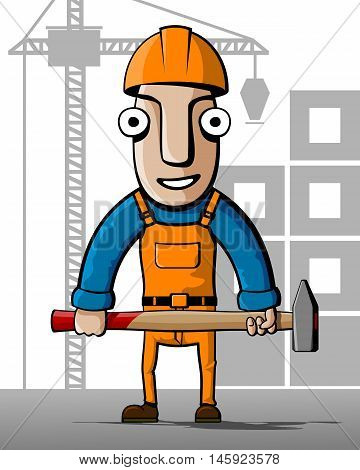 Builder. Construction worker with a hammer on a background of building. Vector illustration.