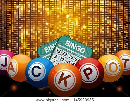 Bingo Balls with Jackpot Word and Cards Over Golden Disco Wall