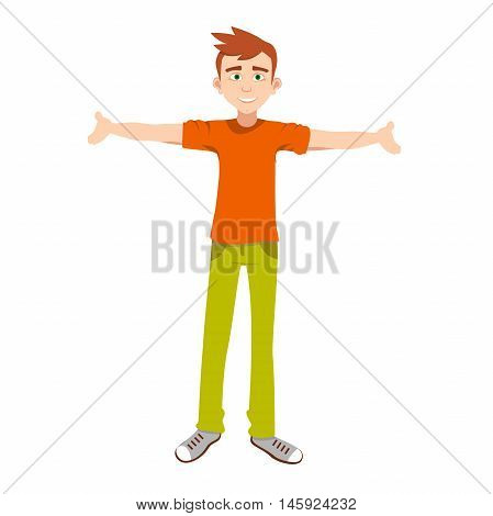 smiling boy with open arms, vector illustration, cartoon boy standing with outstretched arms, with friendly facial expression
