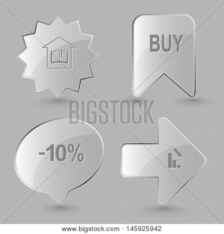 4 images: library, buy, -10%, graph degress. Business set. Glass buttons on gray background. Vector icons.