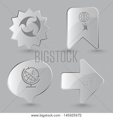 4 images:  little man with globe, globe and recycling symbol, trees. Ecology set. Glass buttons on gray background. Vector icons.