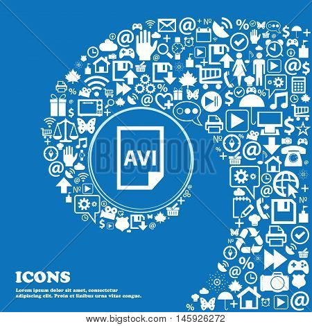 Avi Icon . Nice Set Of Beautiful Icons Twisted Spiral Into The Center Of One Large Icon. Vector