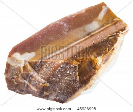 Natural Brown Flint Mineral Isolated On White